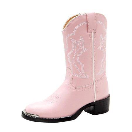 Durango Western Boots Girls Round Toe Cowboy Heel Pink Chrome BT758