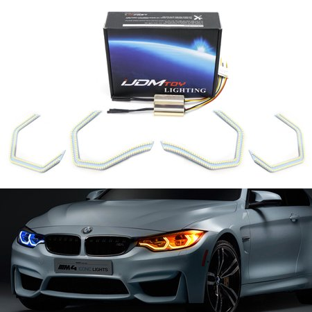 iJDMTOY 4pc 540-SMD Concept M4 Iconic Style Switchback Dual-Color LED Angel Eye Kit w/ Relay Wirings For BMW 2 3 4 5 Series Headlight Retrofit
