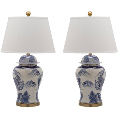 Safavieh Shanghai Ginger Jar with CFL Bulb, Blue/White with Off-White Shade, Set of 2 (Ginger Jar Lamps)