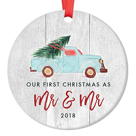 Gay Newlywed Christmas Ornament 2018, First Christmas as Mr & Mr Wedding Gift Idea, Blue Pickup Truck Xmas Tree Ceramic Rustic Farmhouse 3