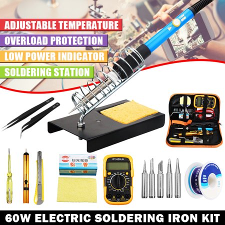 8Pcs 60W 110V Electric Soldering Iron Kit Welder/Weldering Gun Tools Iron Soldering Station Adjustable Temperature Welding Tool, 5Pcs Solder Iron Tips, Multimeter Set