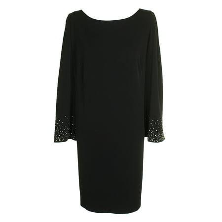 17dfa6425b6af Jessica Howard Plus Size Black Embellished Bell-Sleeved Shift Dress 24W