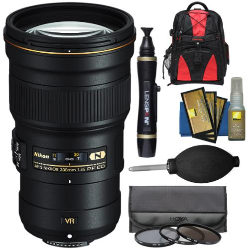 Nikon 300mm f/4E PF VR AF-S ED-IF Telephoto Nikkor Lens with 3 UV/CPL/ND8 Filters + Backpack + Kit