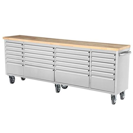 Thor 96 inch 24 Drawer Wide Stainless Steel Anti-Fingerprint Tool Chest with Work