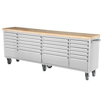Thor 96 inch 24 Drawer Wide Stainless Steel Anti-Fingerprint Tool Chest with Work Station