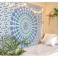 Blue White Peacock Mandala Tapestry Twin Size Boho Beach Throw Dorm Room Indian Wall Hanging Art Bedspread Outdoor Picnic Blanket by Oussum