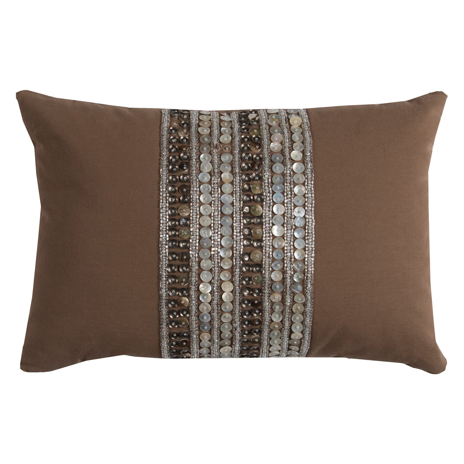 """Rizzy Home Decorative Poly Filled Throw Pillow Center Sequin Stripe 13""""X18"""" Brown"""