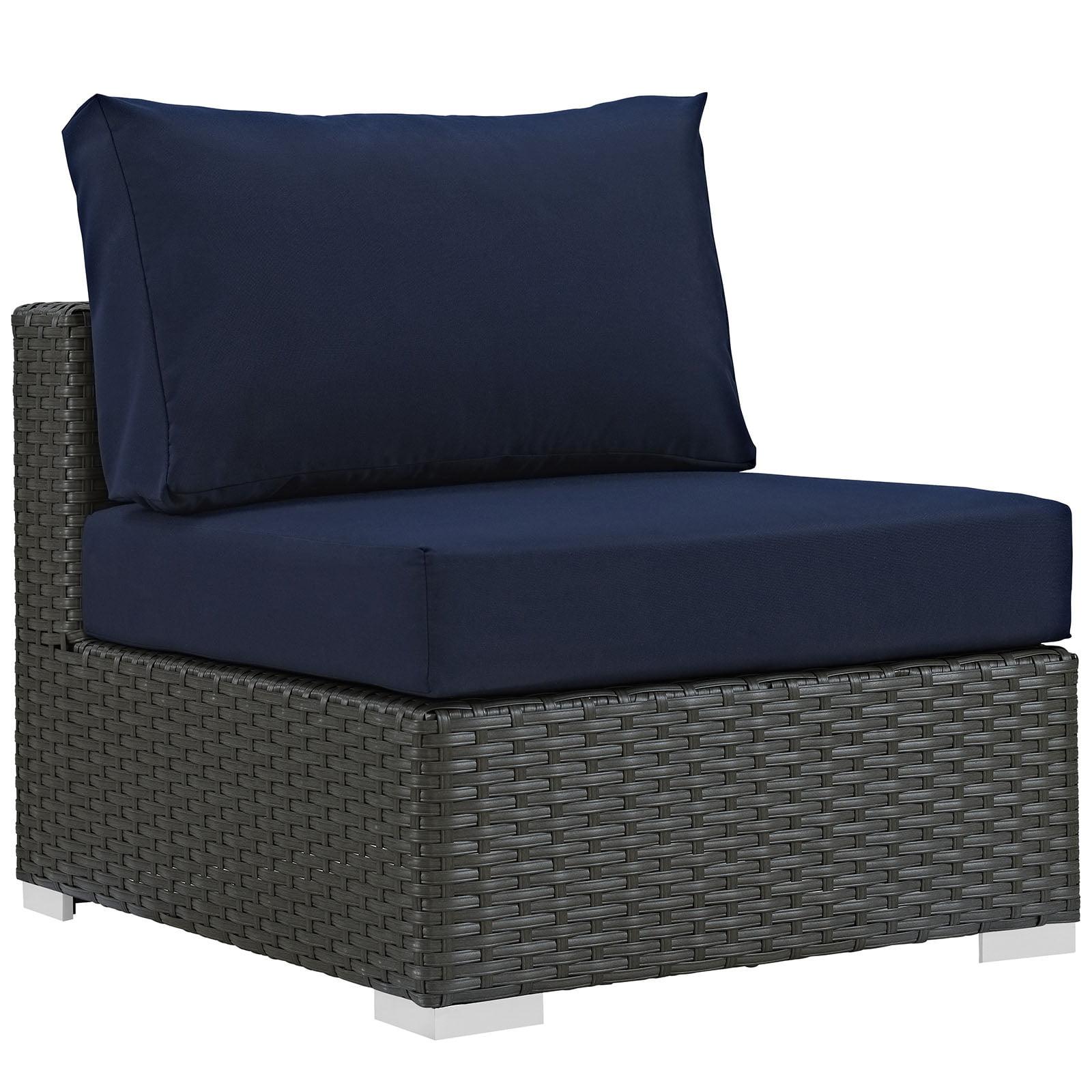 Modern Contemporary Urban Design Outdoor Patio Balcony Lounge Chair, Navy Blue, Rattan