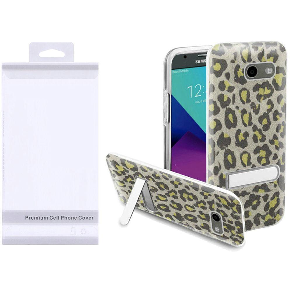 LG Aristo phone case, LG K8 2017 phone case, LG K4 2017 phone case, by Insten Neon Green Leopard/Clear Hybrid Glitter Kickstand Case Package For LG Aristo/Fortune/K4 (2017)/K8 (2017)/LV3/Phoenix 3 - image 1 de 1