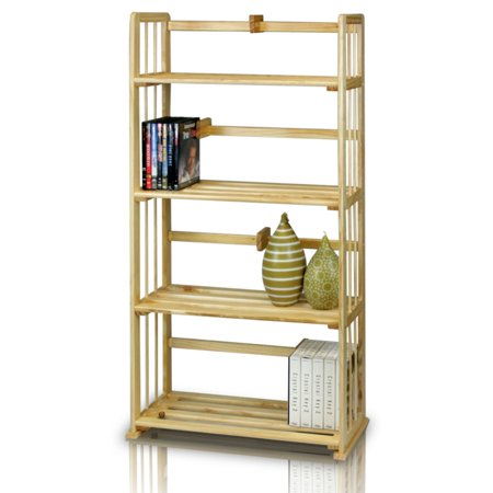 Furinno FNCL 33002 Pine Solid Wood 4 Tier Bookshelf