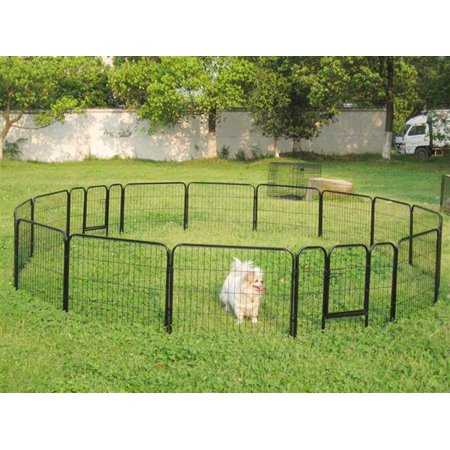 - Yaheetech 24'' Tall Metal Pet Dog Puppy Cat Exercise Fence Barrier Playpen Kennel, 16 Panels