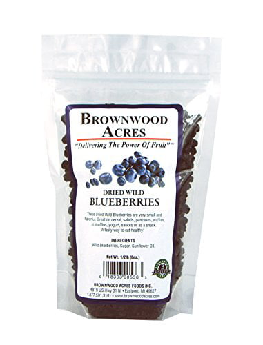 Dried Wild Blueberries 1 2 Pound Bag by Brownwood Acres Foods
