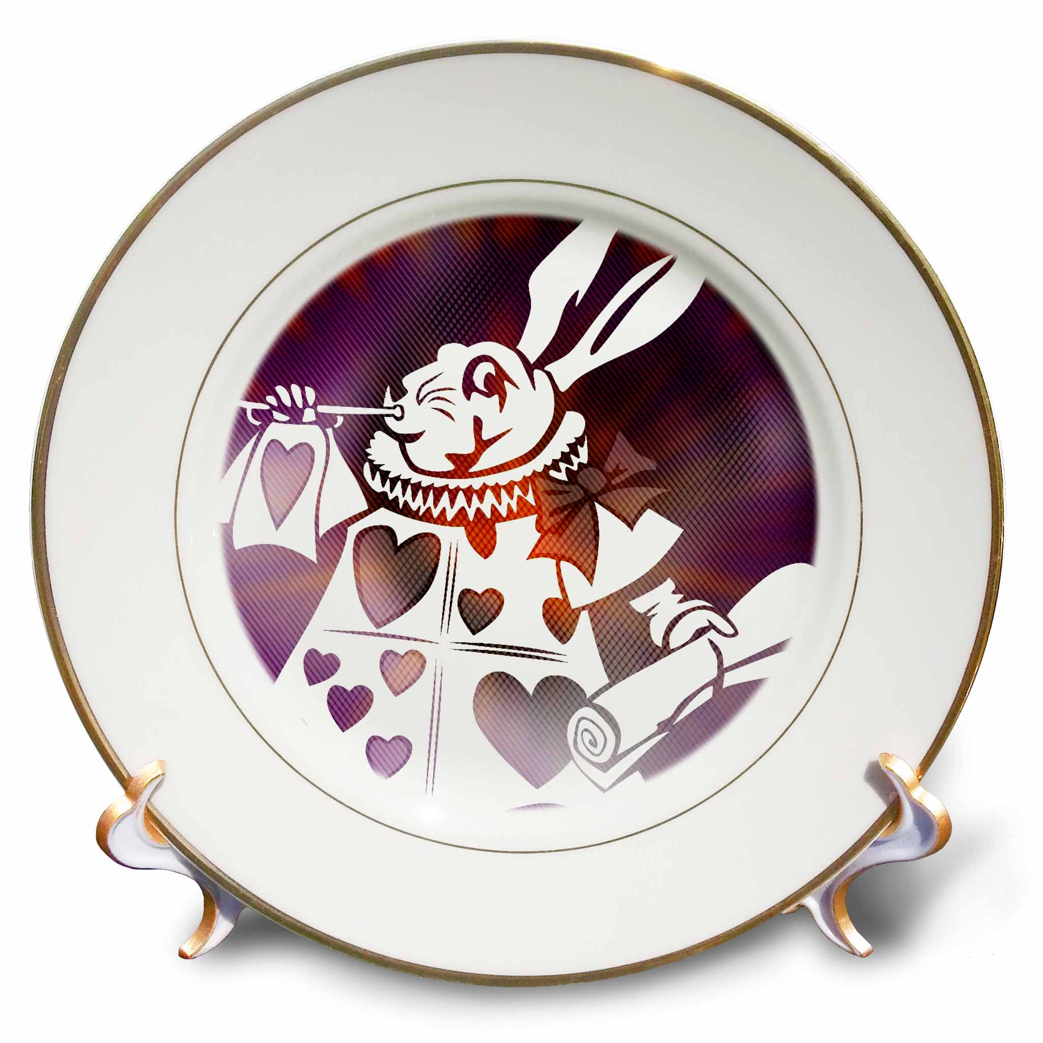 3dRose Magical White Rabbit - Cartoon Characters - Alice in Wonderland Fun, Porcelain Plate, 8-inch