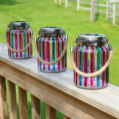 Sunnydaze Solar LED Lantern Blue and Pink Striped Glass Jar Light with White String Lights, Set of 3 - Halloween Glass Jar Lights