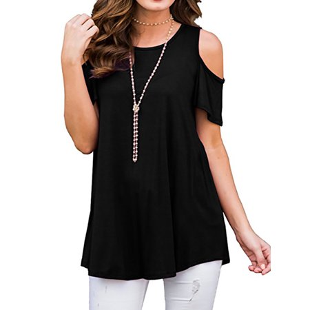 Plus Size Tops for Women Oversized Baggy Loose Fit Turn up Blouse Cold Shoulder Tunic Top High Low T