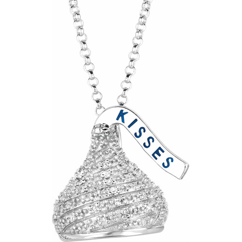 "Hershey's Kisses Women's 0.2 Carat T.W. Diamond Sterling Silver Medium 3D Pendant, 18"" with 2"" Extension"