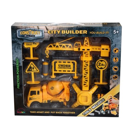 Construct A Truck-City Builder Set-Mixer. Create a construction site, take the truck apart&put it back together+Friction powered(3-toys-in-1!) Awesome award winning set that encourages -