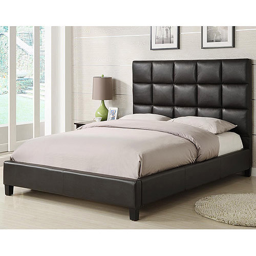 Curtis Queen Tufted Bed, Brown Vinyl