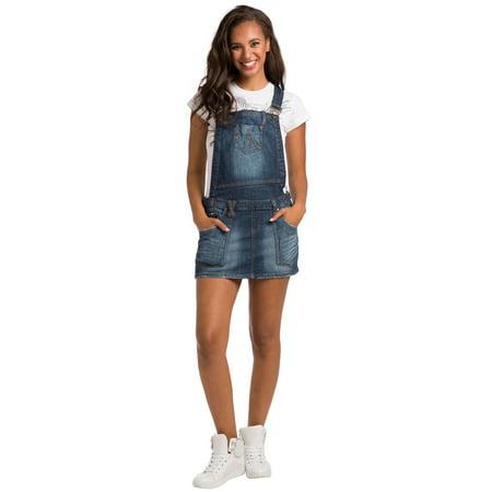 Sweet Vibes Womens Stretch Denim Suspender Skirtall Patch Pockets Sandblast