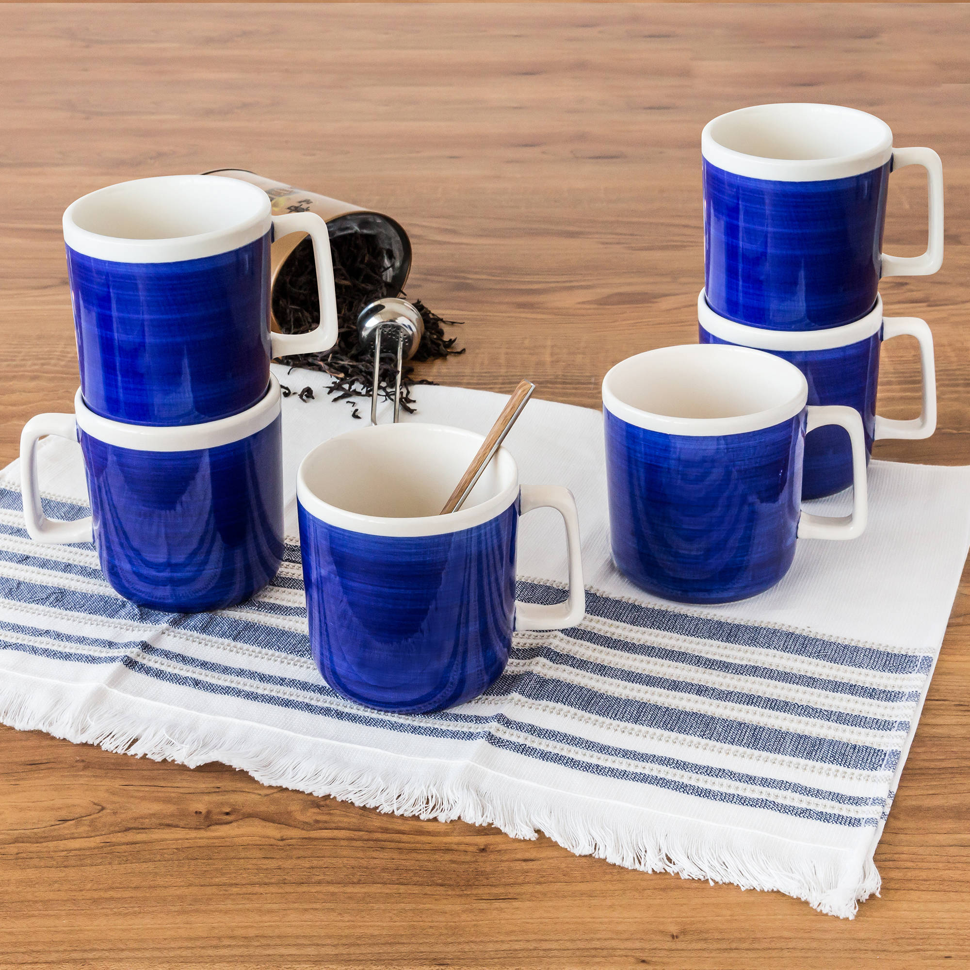 Better Homes & Gardens Indigo Swirl Mugs, Blue, Set of 6