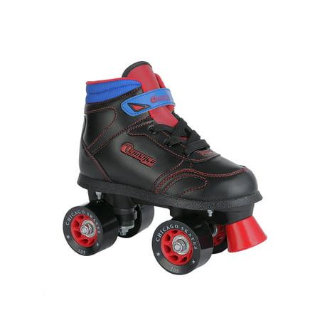 Chicago Boys Quad Roller Skates Black/Red/Blue Sidewalk Skates, Size 5
