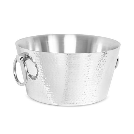BirdRock Home Hammered Double Wall Round Beverage Tub   3 Gallons Stainless Steel   Ice Bucket   Metal Drink Cooler   House Party   Handles Small Container ()