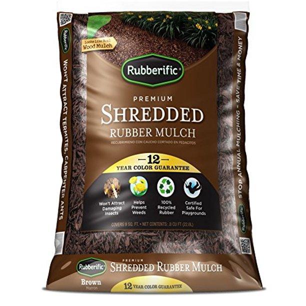 Rubberific 0 8 Cu Ft Dark Brown Shredded Rubber Mulch Playground Certified Walmart Com Walmart Com