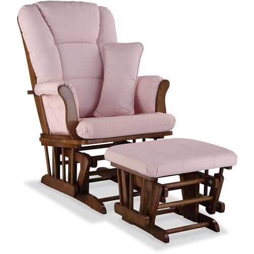 Stork Craft Custom Tuscany Glider & Ottoman-Color:Pink Blush,Finish:Dove Brown