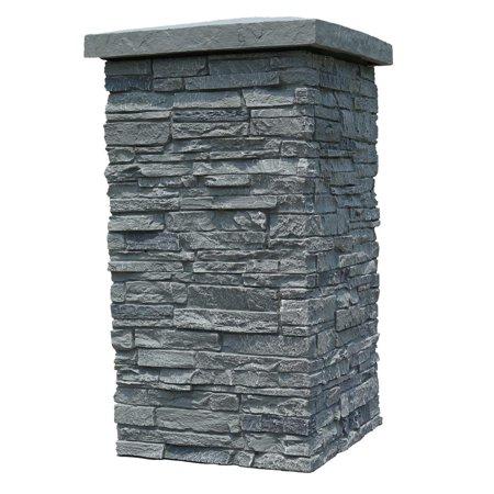 NextStone Faux Polyurethane Stone Column Wrap - Rocky Mountain Graphite (Stone Exterior Siding)