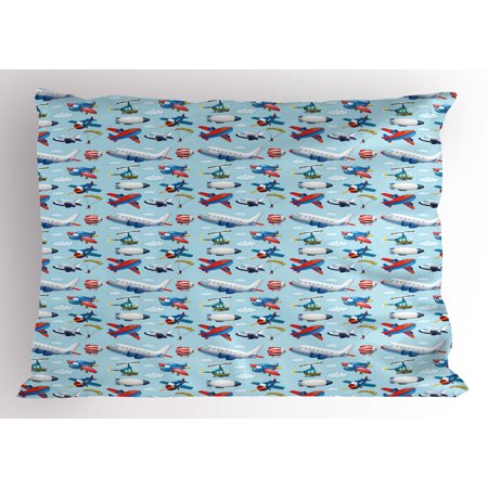 Sky Type (Airplane Pillow Sham Different Types of Cartoon Aircraft Floating in Blue Sky with Sky Diving People, Decorative Standard Queen Size Printed Pillowcase, 30 X 20 Inches, Multicolor, by)