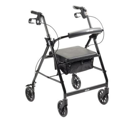"4 Wheel Rollator, Lightweight Folding Black Aluminum Frame, 6"" Caster Wheels, Adjustable 32"" to 37"""