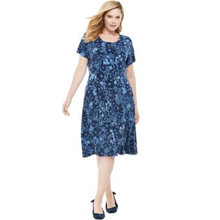 Woman Within Plus Size Short Sleeve Knit Fit-and-flare Dress
