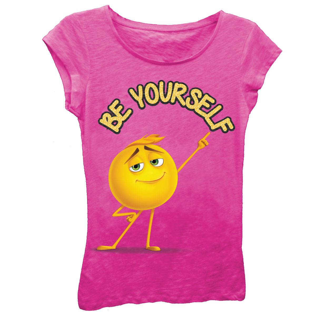 "The Emoji Movie Girls' ""Be Yourself"" Short Sleeve Graphic T-shirt With Gold Glitter"