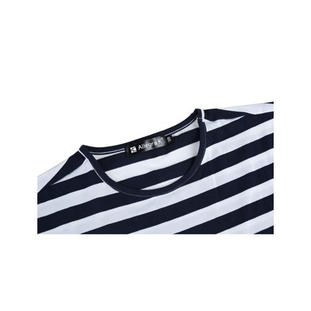 Men Casual Crew Neck Color Block Short Sleeve Striped T Shirt Navy Blue L - image 3 of 7