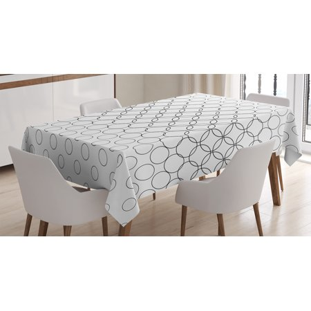 - Geometric Circle Decor Tablecloth, Artistic Various Overlap Dynamic Inner Oval Motifs Retro Print , Rectangular Table Cover for Dining Room Kitchen, 60 X 90 Inches, Black White, by Ambesonne