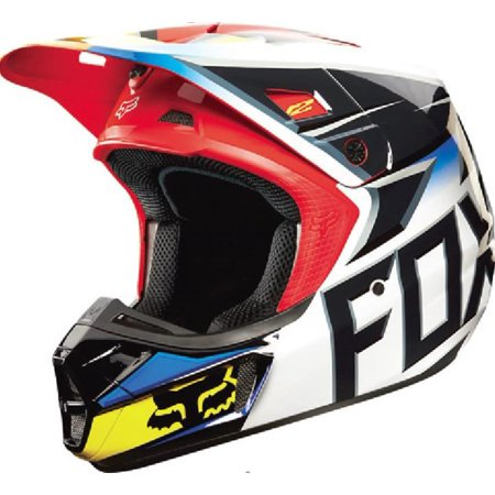 Fox V2 Race Helmet Gloss Black/Red (Black, (Fox V2 Race)