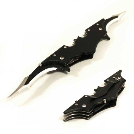 - Black Batman Folding Dual Double Blade Assist Open Pocket Knife Belt Clip