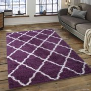 Allstar Modern Contemporary Purple High Pile Posh Gy Trellis Patterned Area Rug 5 0