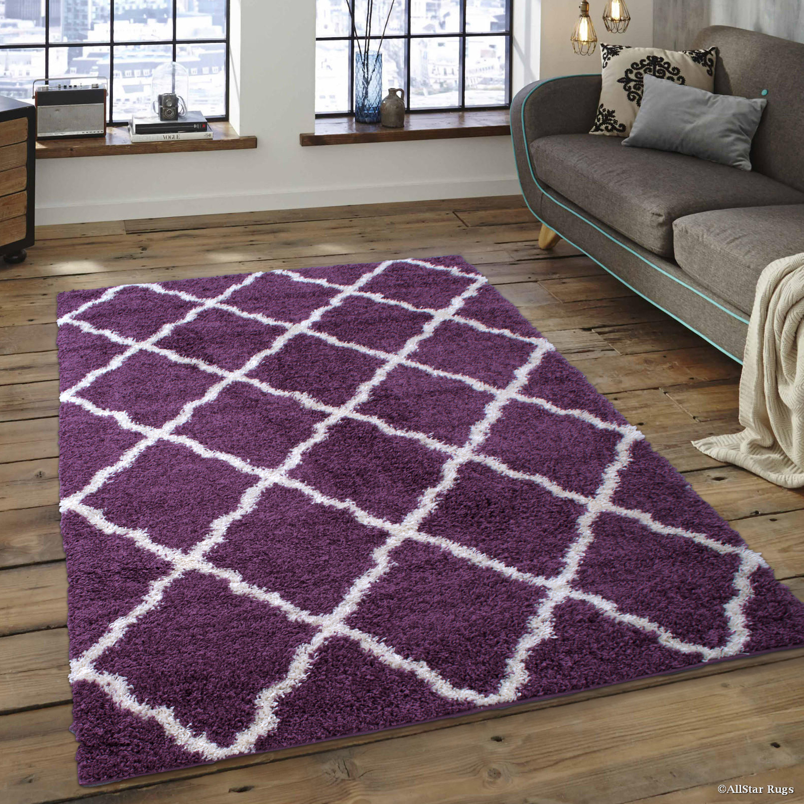 allstar modern purple high pile posh shaggy trellis patterned area rug 5u0027 0