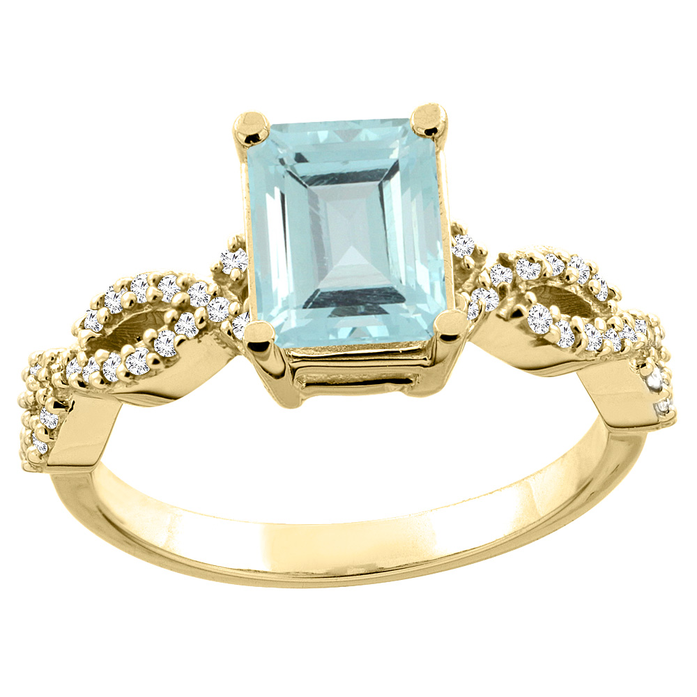 14K Yellow Gold Natural Aquamarine Eternity Ring Octagon 9x7mm Diamond Accent, size 5 by Gabriella Gold