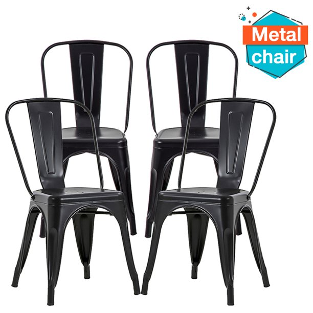 Fdw Stackable Restaurant Metal Chair Chic Metal Kitchen Dining Chairs Set Of 4 Trattoria Chairs Indoor Out Door Metal Tolix Side Bar Chairs Walmart Com Walmart Com
