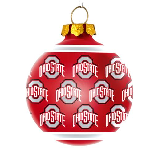 Ohio State Buckeyes Official NCAA  Repeat Glass Ball Christmas Ornament by Forever Collectibles