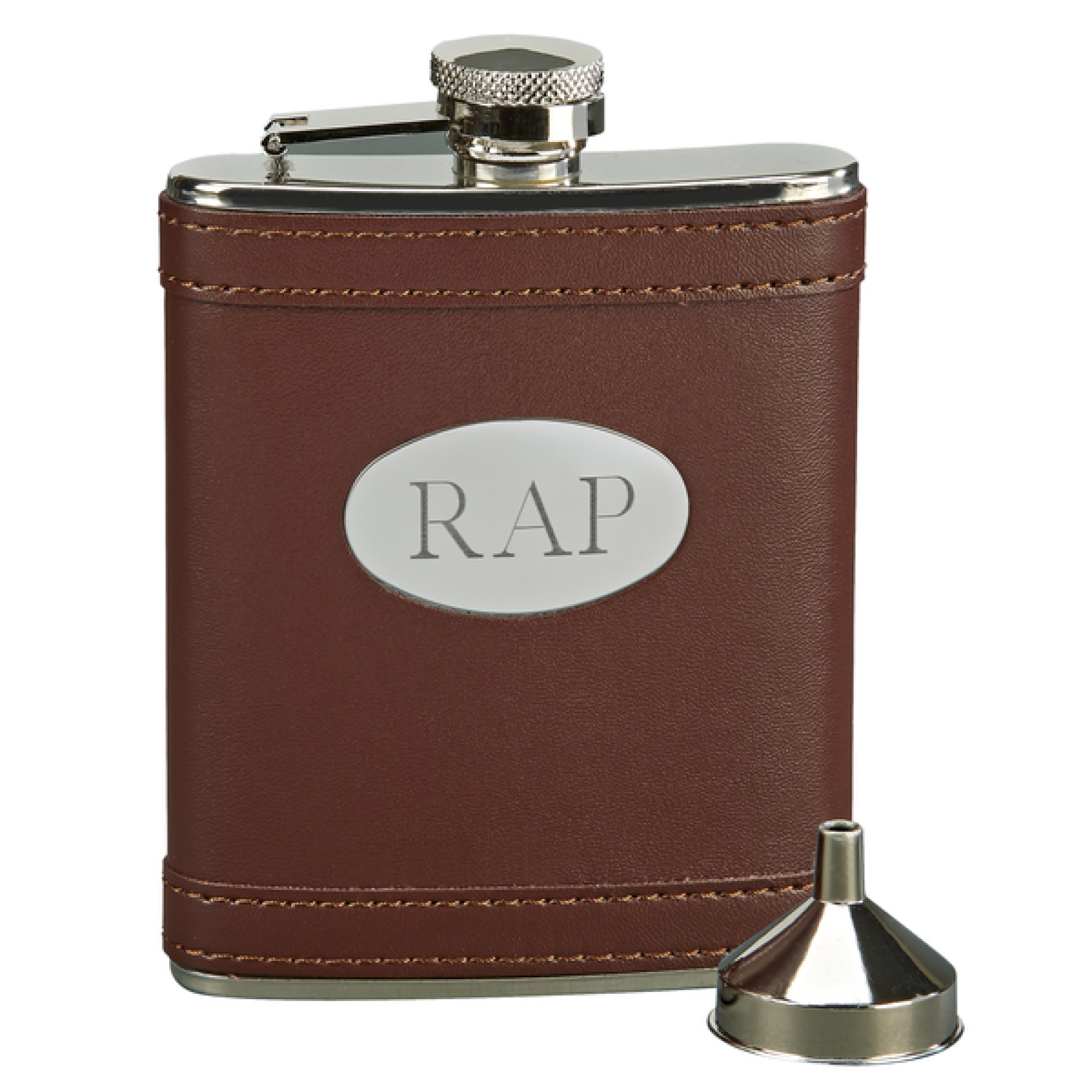 Personalized Monogrammed Brown Flask W/ Oval Engraving Plate, 6 Oz