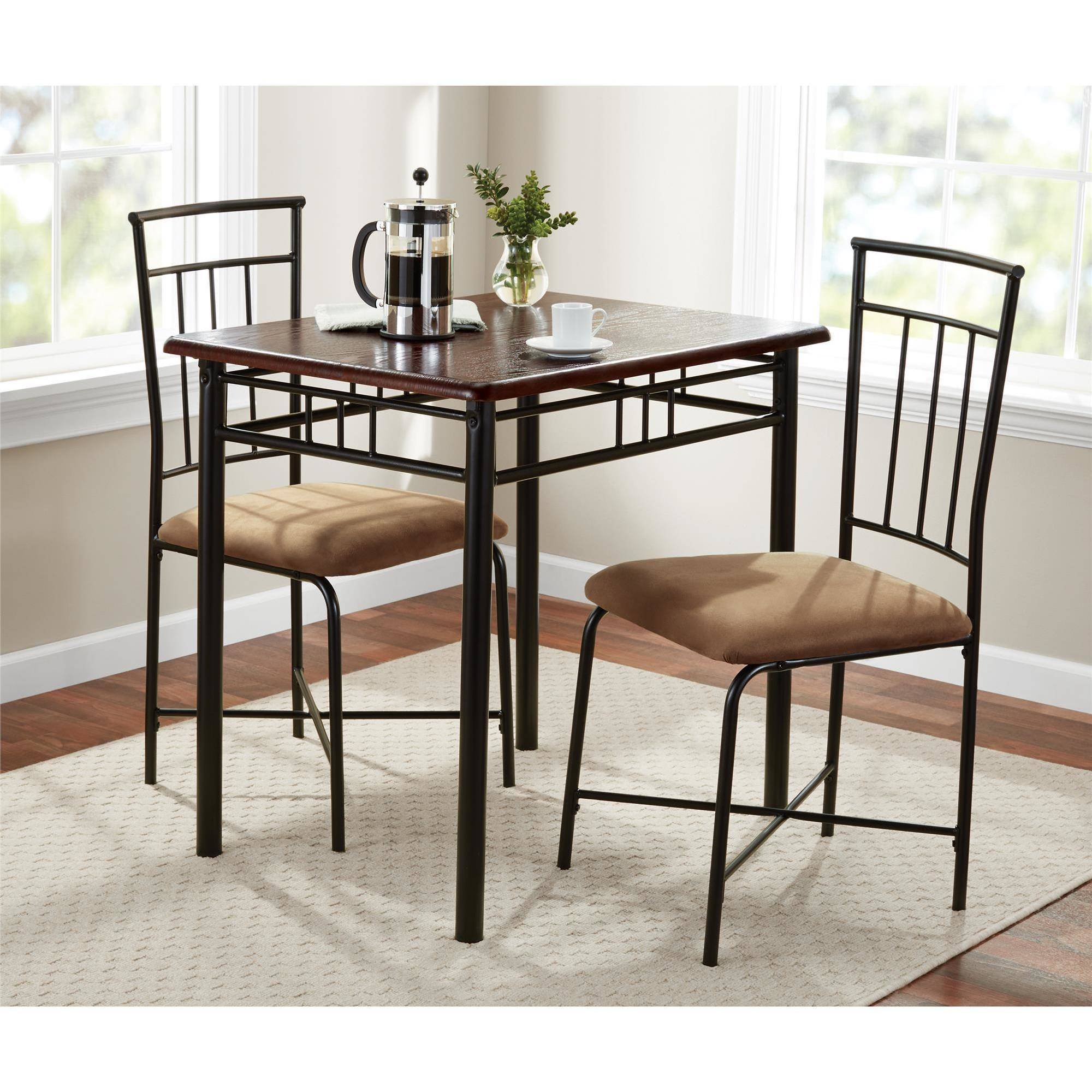 Beau Mainstays 3 Piece Dining Set, Wood And Metal