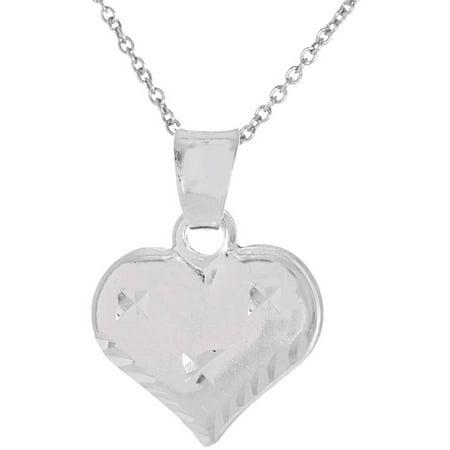 Pori Jewelers Sterling Silver Diamond-Cut Puff Heart Charm Pendant Necklace