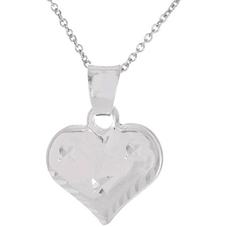 Tennessee Heart Charm - Pori Jewelers Sterling Silver Diamond-Cut Puff Heart Charm Pendant Necklace