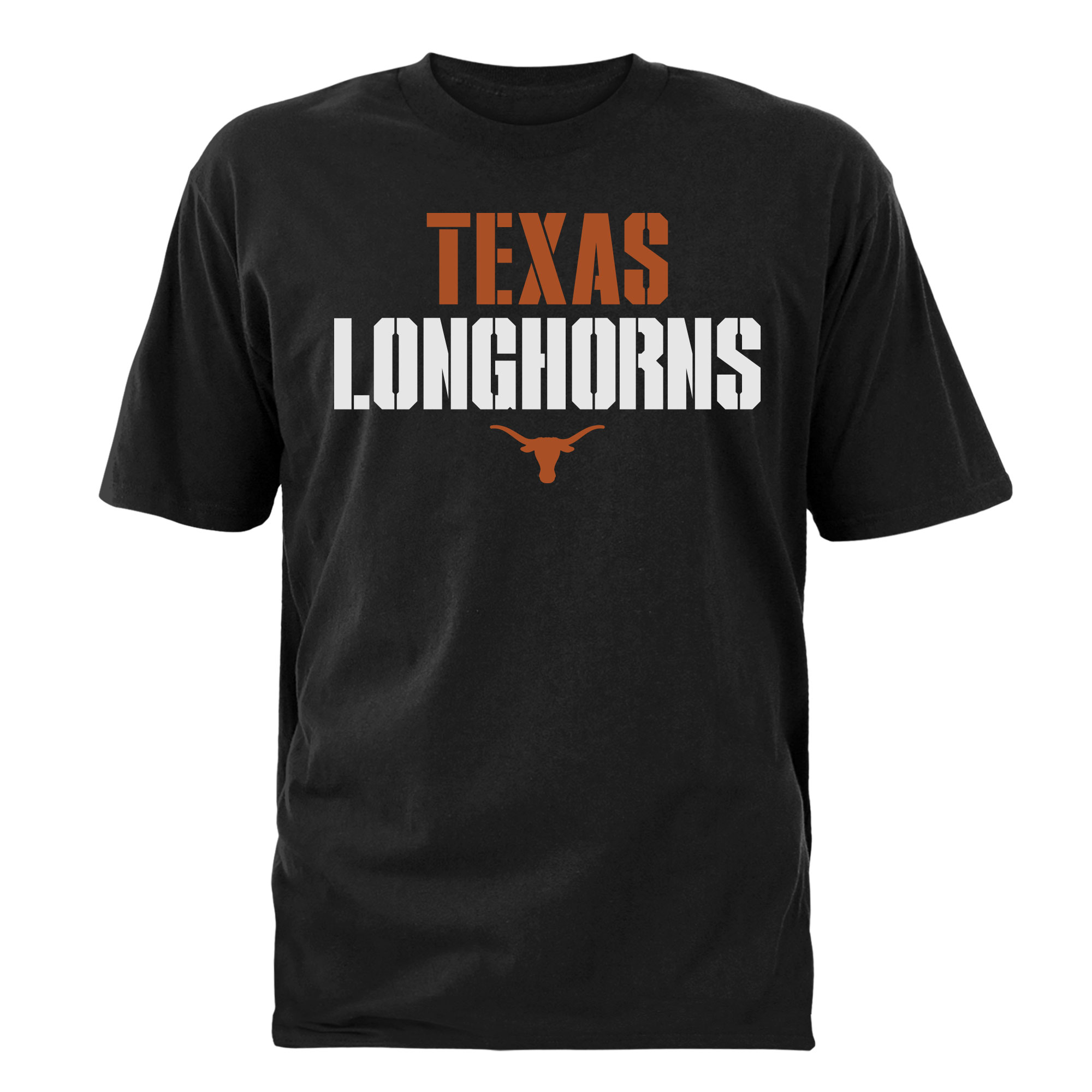 Men's Black Texas Longhorns Stencil Stack T-Shirt