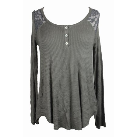 - American Rag Juniors Dusty Olive Lace Contrast Henley Top M