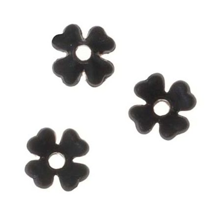 Lucite Baby's Breath Tiny Flowers Matte Jet Black Light Weight 6mm (10) (Tiny Trade Beads)
