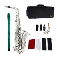 Saxophone Sax Eb Be Alto E Flat Brass Carved Pattern on Surface Mouthpiece Exquisite with Gloves Cleaning Cloth Brush Straps